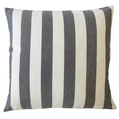 Promfret Striped Down Filled 100% Cotton Lumbar Pillow Color: Black