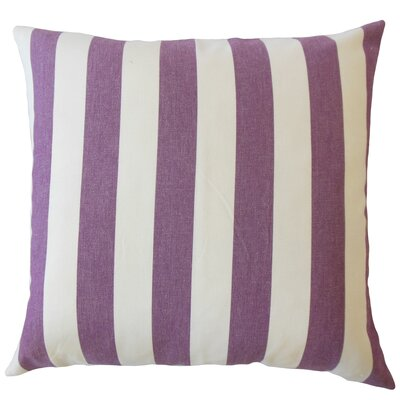 Promfret Striped Down Filled 100% Cotton Lumbar Pillow Color: Currant