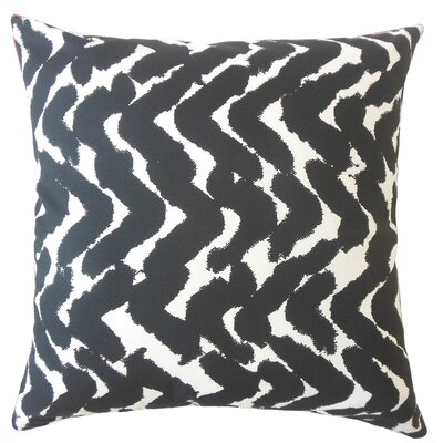 Kitson Zigzag Down Filled 100% Cotton Lumbar Pillow Color: Black
