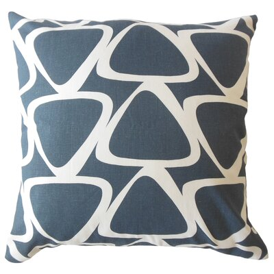 Ann Geometric Down Filled 100% Cotton Lumbar Pillow Color: Blue