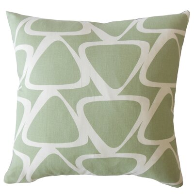 Ann Geometric Down Filled 100% Cotton Lumbar Pillow Color: Green