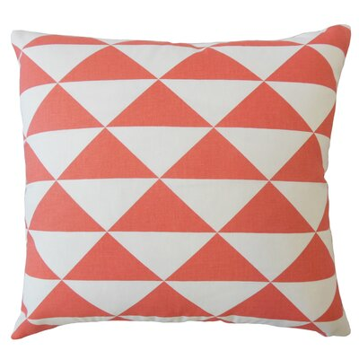 Wiedman Geometric Down Filled 100% Cotton Lumbar Pillow Color: Coral