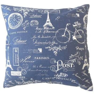 Daniele Typography Down Filled 100% Cotton Lumbar Pillow Color: Indigo