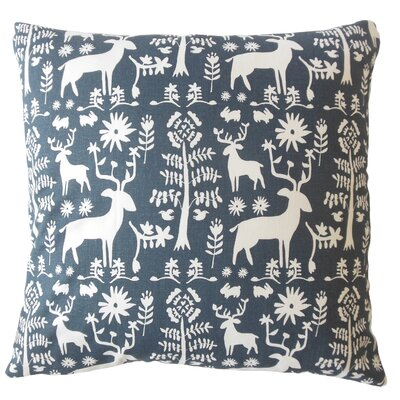Avondale Animal Print Down Filled 100% Cotton Throw Pillow Size: 18 x 18, Color: Blue