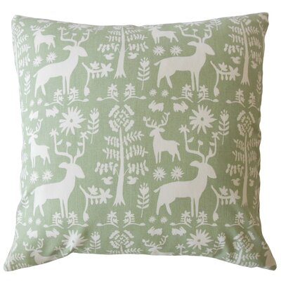 Avondale Animal Print Down Filled 100% Cotton Throw Pillow Size: 22 x 22, Color: Sundown/Green