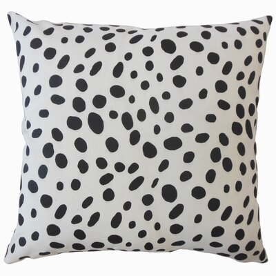 Chisley Polka Dot Down Filled 100% Cotton Throw Pillow Size: 20 x 20, Color: Black