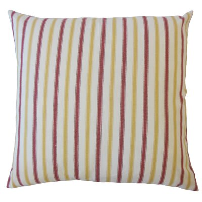 Camela Striped Down Filled 100% Cotton Lumbar Pillow Color: Gold/Red