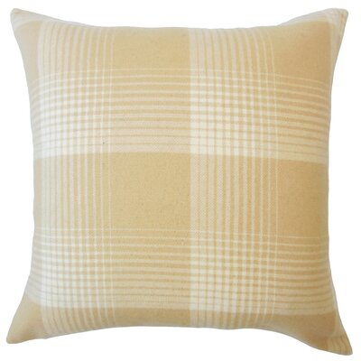 Wigginton Plaid Down Filled Velvet Throw Pillow Size: 24 x 24, Color: Honey