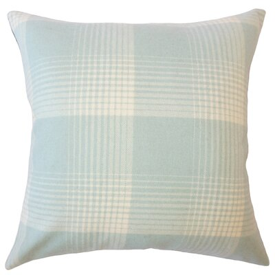 Wigginton Plaid Down Filled Velvet Throw Pillow Size: 18 x 18, Color: Seaglass