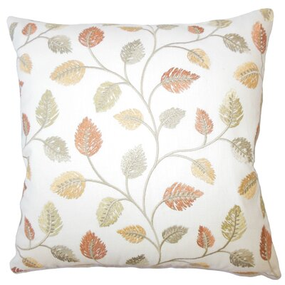 Storm Floral Down Filled 100% Cotton Lumbar Pillow Color: Amber