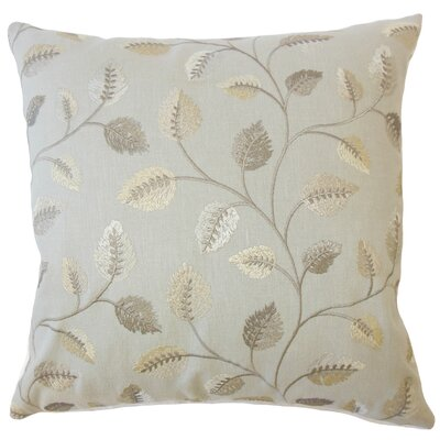 Storm Floral Down Filled 100% Cotton Lumbar Pillow Color: Pewter