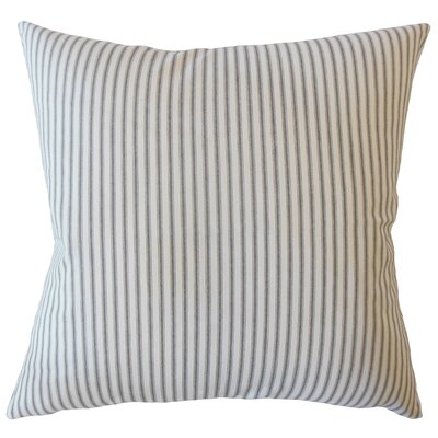 Jaishri Striped Down Filled 100% Cotton Lumbar Pillow Color: Navy