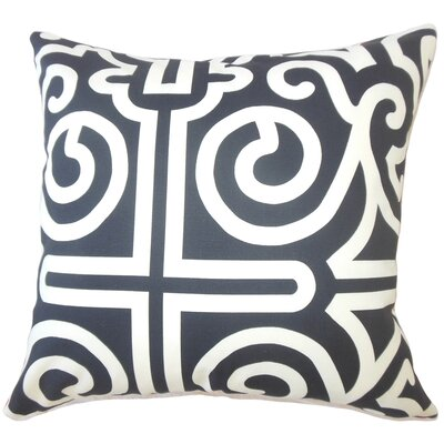 Wethington Geometric Down Filled 100% Cotton Lumbar Pillow Color: Black/White