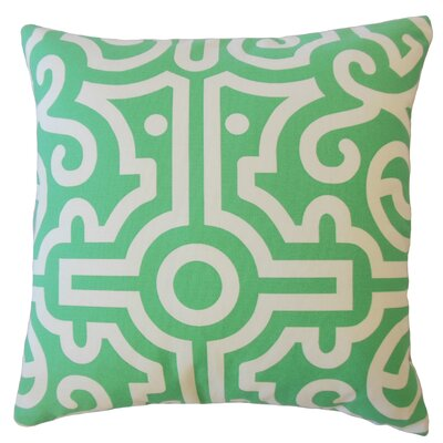 Wethington Geometric Down Filled 100% Cotton Lumbar Pillow Color: Jade