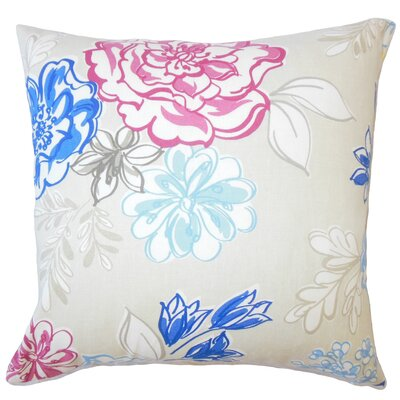 Goodrich Floral Down Filled 100% Cotton Throw Pillow Size: 18 x 18, Color: Blueberry