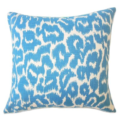Wetzler Ikat Down Filled Linen Lumbar Pillow Color: Cadet