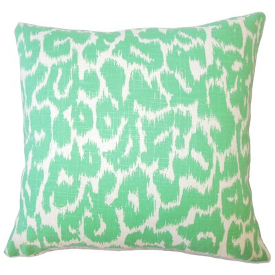 Wetzler Ikat Down Filled Linen Lumbar Pillow Color: Jade