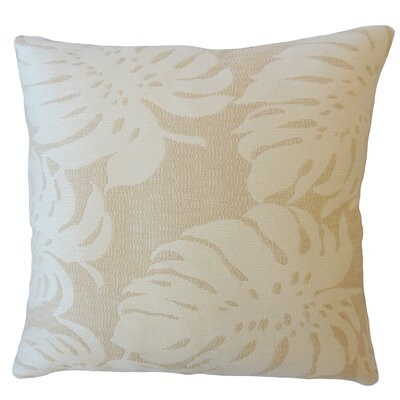 Maiah Floral Down Filled Throw Pillow Size: 18 x 18, Color: Shell