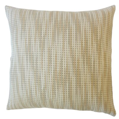 Gardena Striped Down Filled 100% Cotton Lumbar Pillow Color: Beige