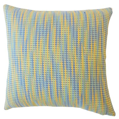 Gardena Striped Down Filled 100% Cotton Lumbar Pillow Color: Capri