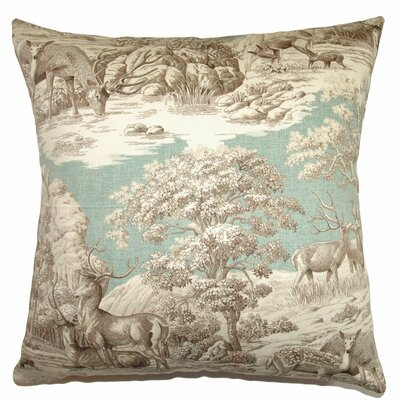 Feramin Toile Front Cotton Throw Pillow Color: Aqua Front, Size: 24 x 24