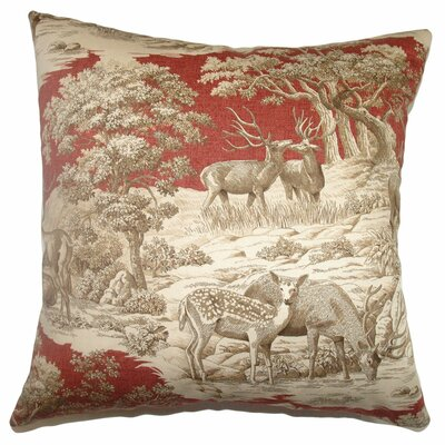 Elijah Toile Square Cotton Throw Pillow Cover Size: 20 x 20, Color: Redwood