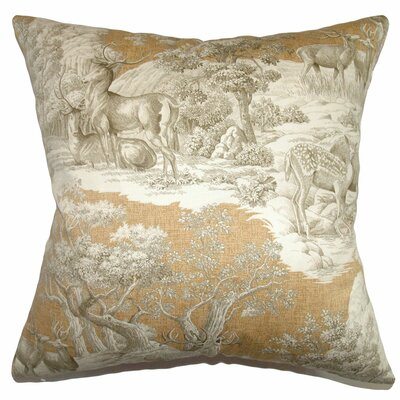 Feramin Toile Front Cotton Throw Pillow Color: Safari Front, Size: 18 x 18