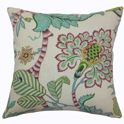 Elodie Floral Cotton Throw Pillow Color: Teal, Size: 22 x 22