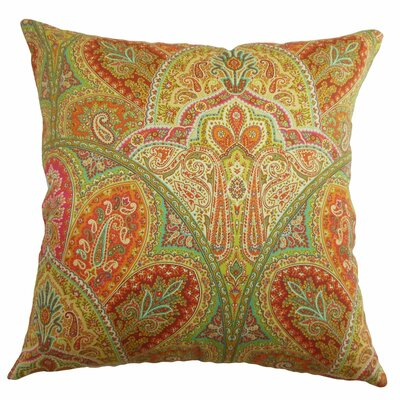 La Ceiba Paisley Cotton Throw Pillow Cover Size: 20 x 20, Color: Citrus