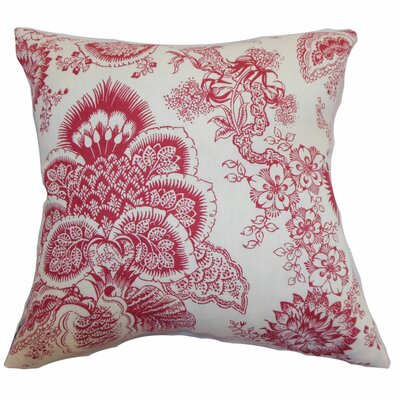 Paionia Floral Linen Throw Pillow Color: Red, Size: 24 x 24
