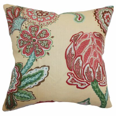 Samarinda Floral Linen Throw Pillow Color: Canary, Size: 18 x 18