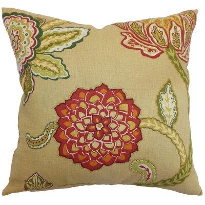 Samarinda Floral Linen Throw Pillow Color: Caramel, Size: 24 x 24