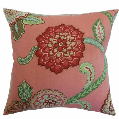 Samarinda Floral Linen Throw Pillow Color: Rose, Size: 18 x 18