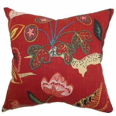 Unayzah Floral Throw Pillow Color: Poppy Red, Size: 18 x 18