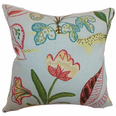 Unayzah Floral Throw Pillow Cover Size: 18 x 18, Color: Sky Blue