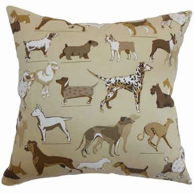 Wonan Dogs Print Throw Pillow Color: Toast, Size: 18 x 18