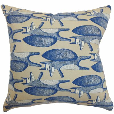 Babolsar Slugs Cotton Throw Pillow Color: Denim, Size: 18 x 18
