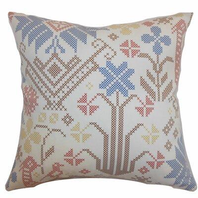 Dori Cross Stitch Cotton Throw Pillow Color: Multi, Size: 18 x 18