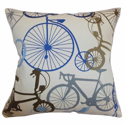 Echuca Bicycles Cotton Throw Pillow Color: Blue Brown, Size: 24 x 24