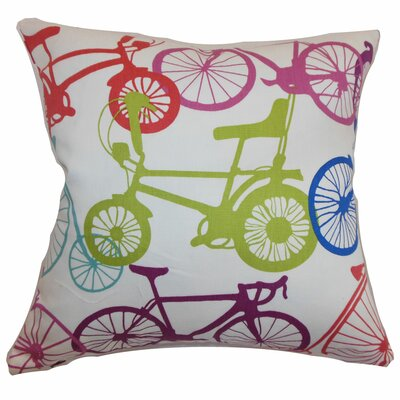 Echuca Bicycles Cotton Throw Pillow Color: Confetti, Size: 18 x 18