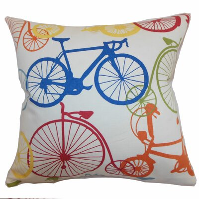 Echuca Bicycles Cotton Throw Pillow Color: Multi, Size: 18 x 18