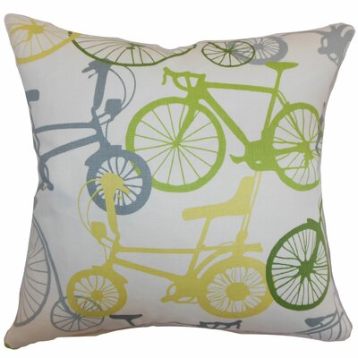 Echuca Bicycles Cotton Throw Pillow Color: Springtime, Size: 18 x 18