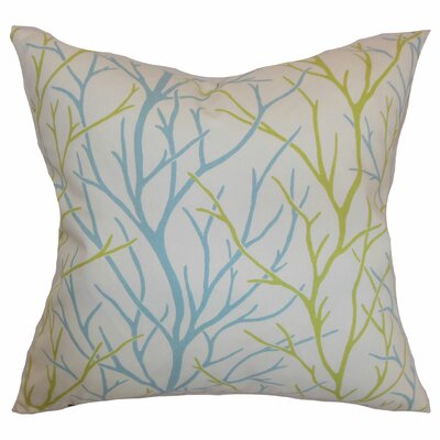 Fderik Trees Cotton Throw Pillow Cover Size: 18 x 18, Color: Aqua Green