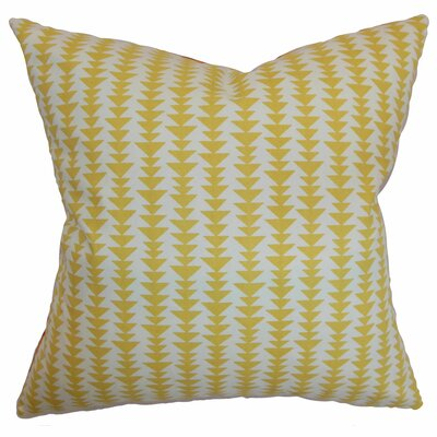 Jiri Cotton Throw Pillow Color: Banana, Size: 22 x 22