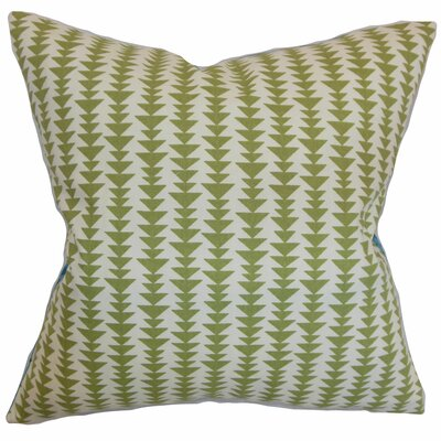 Harrell Cotton Throw Pillow Color: Green, Size: 24 x 24