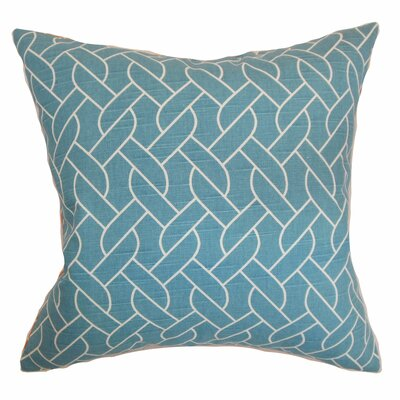 Bugarin Cotton Throw Pillow Color: Aquamarine, Size: 24 x 24