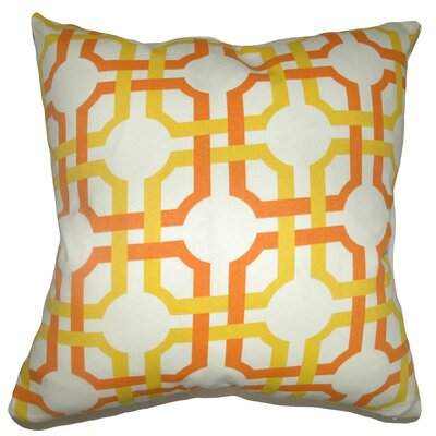 Aebba Tile Cotton Throw Pillow Color: Sun Gold, Size: 18 x 18