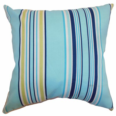 "The Pillow Collection Fergus Stripes Polyester Pillow - Color: Blueberry, Size: 20"" x 20"""