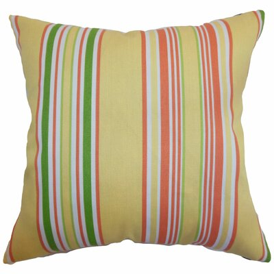 "The Pillow Collection Fergus Stripes Polyester Pillow - Color: Canary, Size: 20"" x 20"""