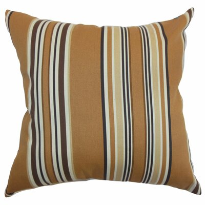 "The Pillow Collection Fergus Stripes Polyester Pillow - Color: Chocolate, Size: 20"" x 20"""